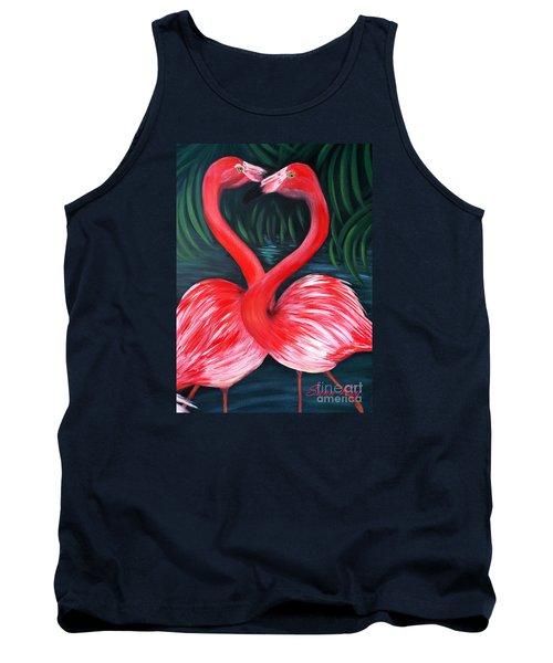 Flamingo Love Card Tank Top by Oksana Semenchenko