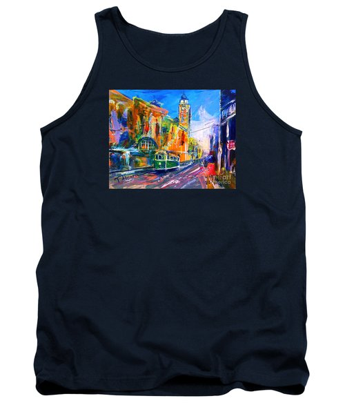 Tank Top featuring the painting Flinders Street - Original Sold by Therese Alcorn