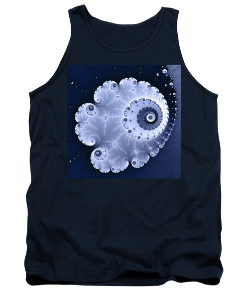 Fractal Spiral Light And Dark Blue Colors Tank Top by Matthias Hauser