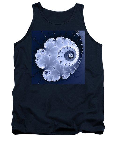 Fractal Spiral Light And Dark Blue Colors Tank Top