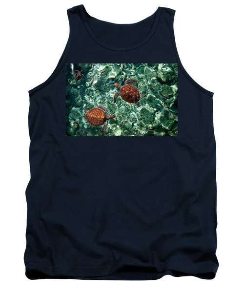 Fragile Underwater World. Sea Turtles In A Crystal Water. Maldives Tank Top