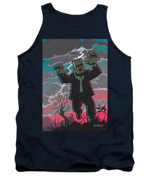 Tank Top featuring the digital art Frankenstein Creature In Storm  by Martin Davey