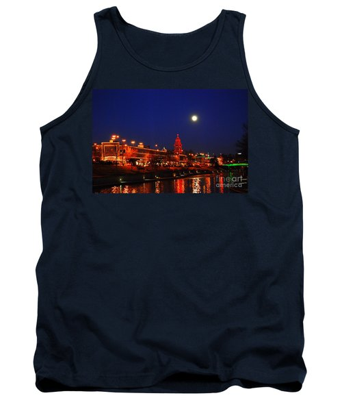 Full Moon Over Plaza Lights In Kansas City Tank Top by Catherine Sherman