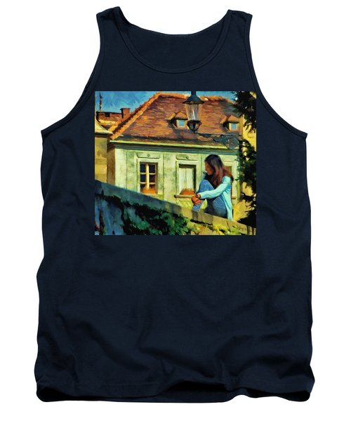Tank Top featuring the painting Girl Posing On Stone Wall by Jeff Kolker