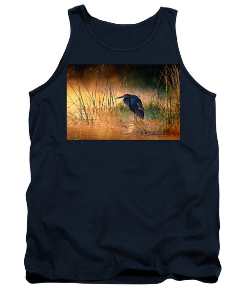 Goliath Heron With Sunrise Over Misty River Tank Top by Johan Swanepoel