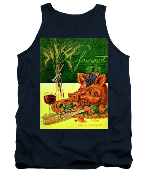Gourmet Cover Featuring A Pig's Head On A Platter Tank Top