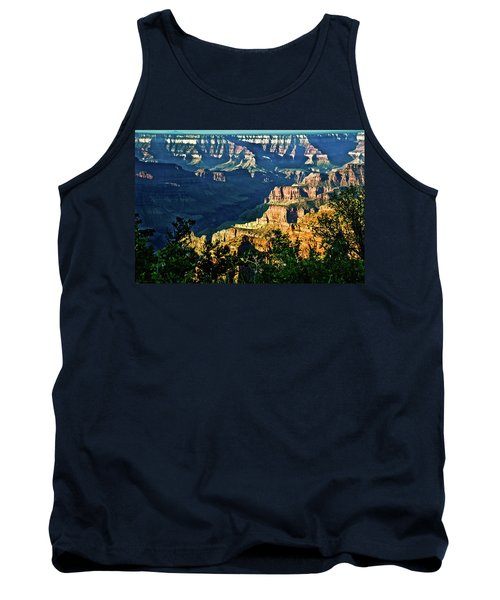Tank Top featuring the photograph Grand Canyon  Golden Hour On Angel Point by Bob and Nadine Johnston
