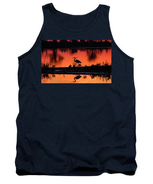 Great Blue Heron At Sunrise Tank Top by Allan Levin