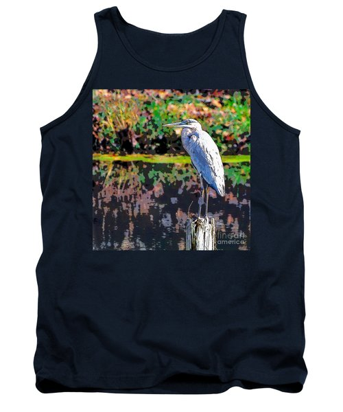 Great Blue Heron At The Pond Tank Top