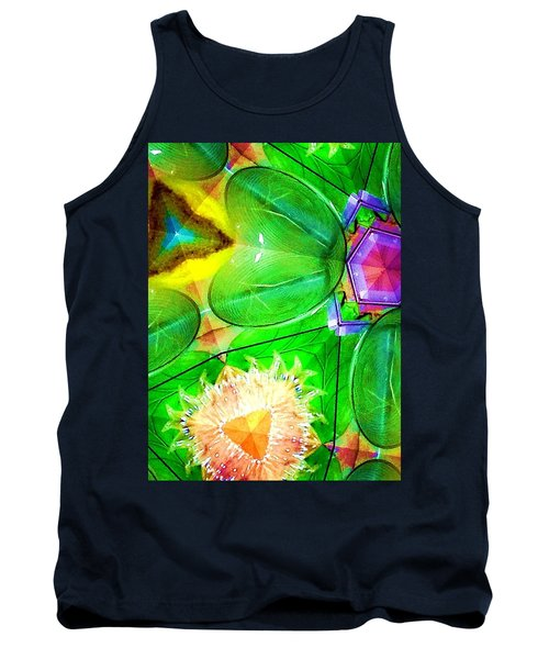 Green Thing 2 Abstract Tank Top by Saundra Myles