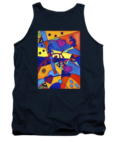 Harvesting The Love Kokopelli Art  Tank Top by Lori Miller