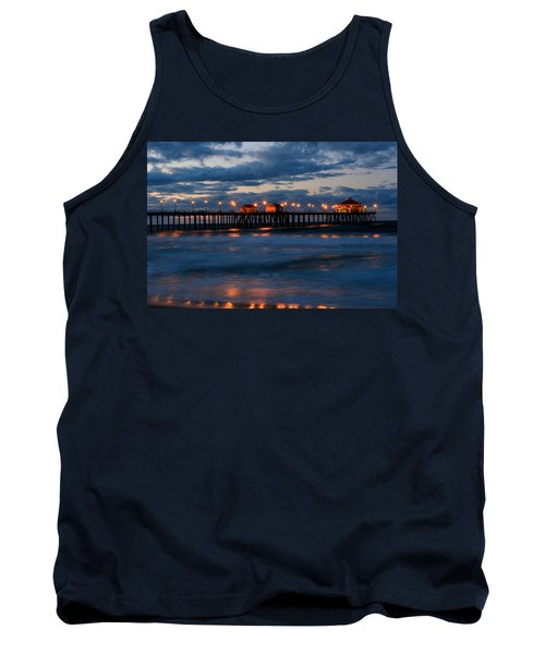 Huntington Beach Pier Lights  Tank Top by Duncan Selby