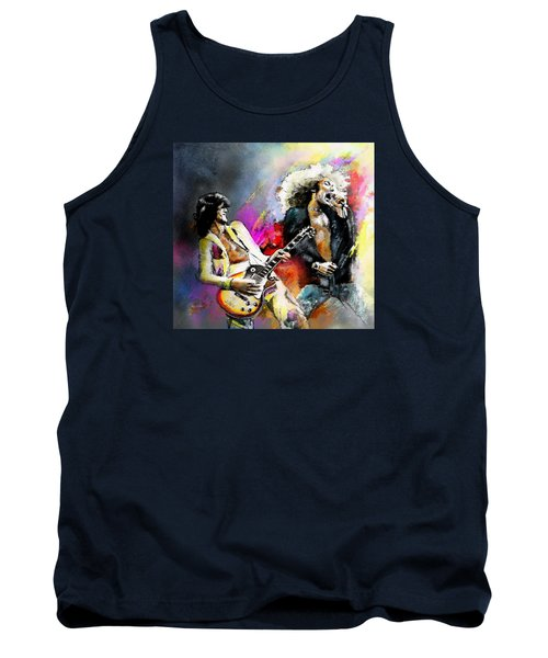 Jimmy Page And Robert Plant Led Zeppelin Tank Top by Miki De Goodaboom