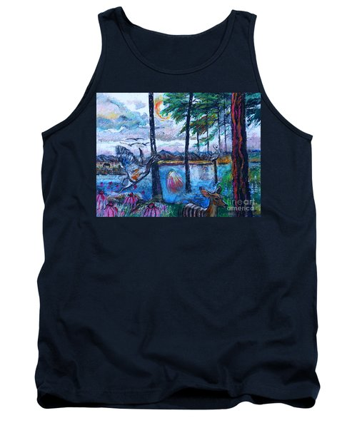 Kingfisher And Deer In Landscape Tank Top