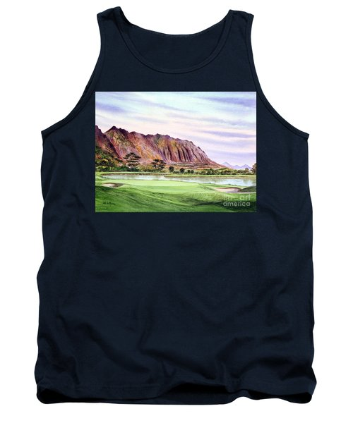 Tank Top featuring the painting Koolau Golf Course Hawaii 16th Hole by Bill Holkham