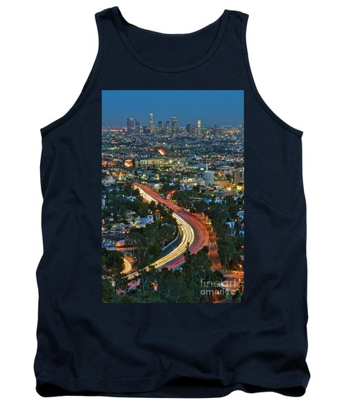 La Skyline Night Magic Hour Dusk Streaking Tail Lights Freeway Tank Top by David Zanzinger
