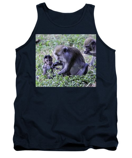 Tank Top featuring the photograph Long Tailed Macaque Family by Shoal Hollingsworth