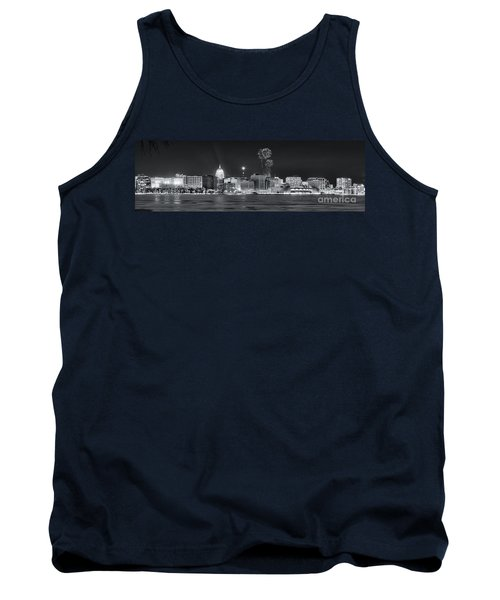 Madison - Wisconsin -  New Years Eve Panorama Black And White Tank Top