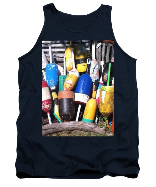Tank Top featuring the photograph Maine Lobster Buoys by Denyse Duhaime