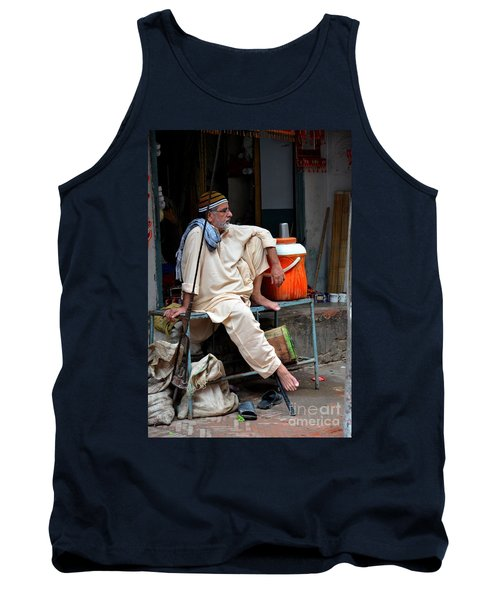 Man Sits And Relaxes In Lahore Walled City Pakistan Tank Top by Imran Ahmed