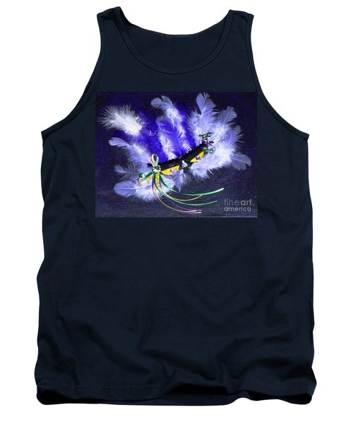 Tank Top featuring the painting Mardi Gras On Purple by Alys Caviness-Gober
