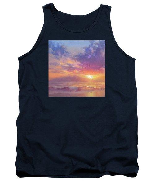 Maui To Molokai Hawaiian Sunset Beach And Ocean Impressionistic Landscape Tank Top by Karen Whitworth