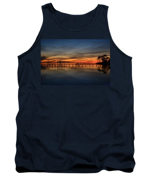 Mirrored Sunset Colors On Santa Rosa Sound Tank Top by Jeff at JSJ Photography