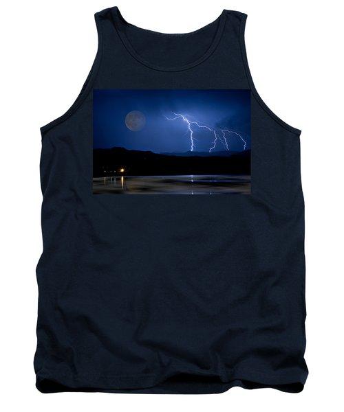 Misty Lake Full Moon Lightning Storm Fine Art Photo Tank Top