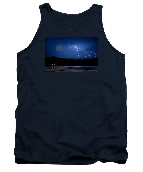 Misty Lake Full Moon Lightning Storm Fine Art Photo Tank Top