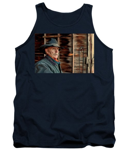 Tank Top featuring the painting Montana Cowboy by Michael Pickett