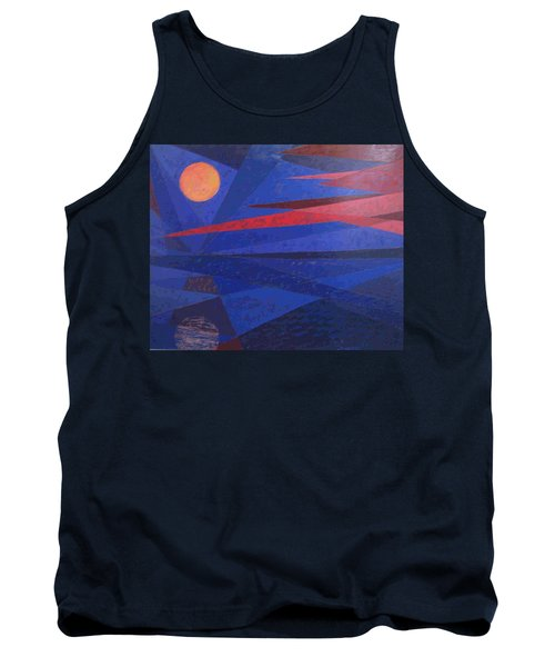 Tank Top featuring the painting Moon Reflecting On A Lake by Walter Casaravilla