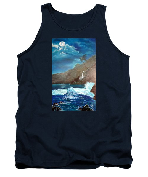 Tank Top featuring the painting Moonlit Wave by Jenny Lee