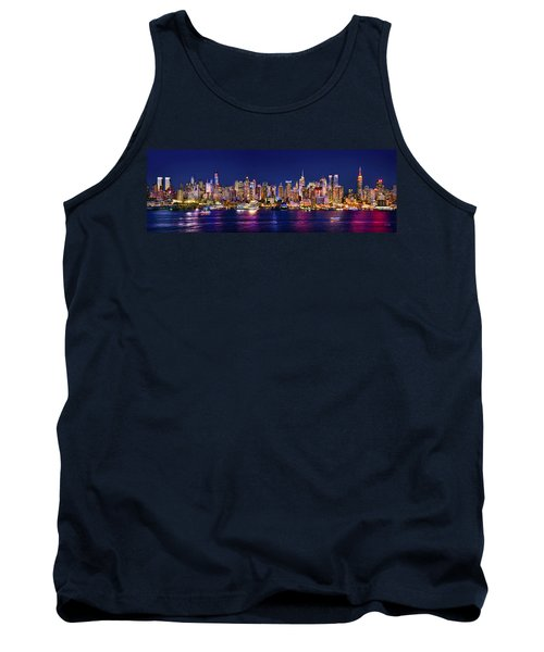 New York City Nyc Midtown Manhattan At Night Tank Top by Jon Holiday