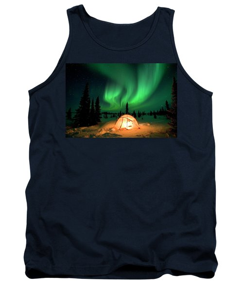 Northern Lights Over Tent Tank Top