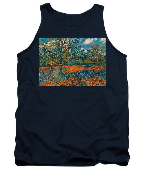 Orange And Blue Flower Field Tank Top