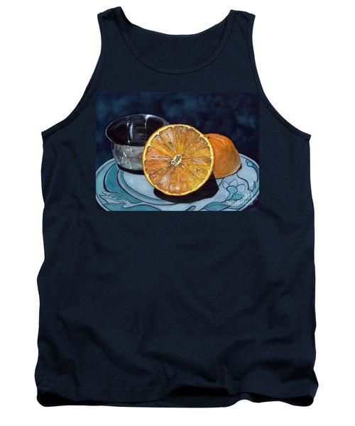 Orange And Silver Tank Top by Barbara Jewell