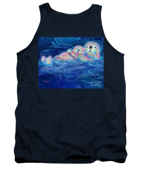 Tank Top featuring the mixed media Otter Family by Teresa Ascone