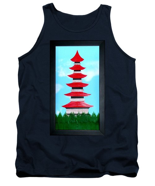 Tank Top featuring the mixed media Pagoda by Ron Davidson