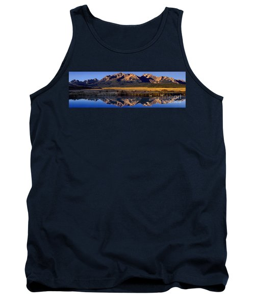 Panorama Reflections Sawtooth Mountains Nra Idaho Tank Top by Dave Welling