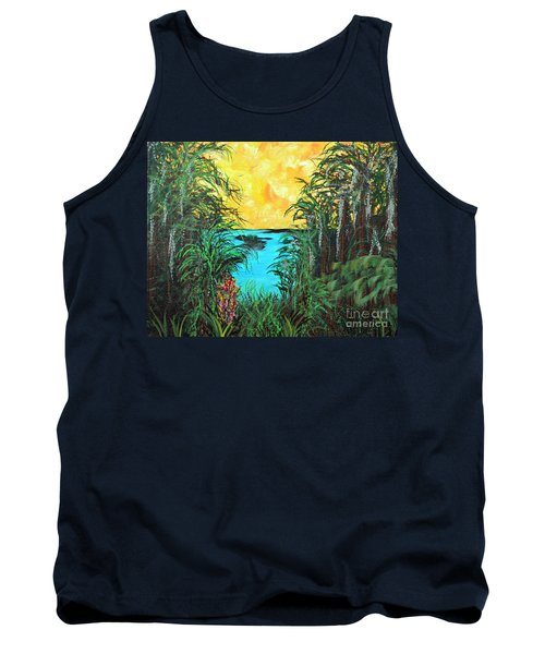 Tank Top featuring the painting Panther Island In The Bayou by Alys Caviness-Gober