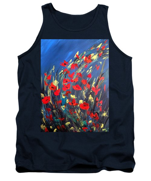 Poppies Field On A Windy Day Tank Top by Dorothy Maier