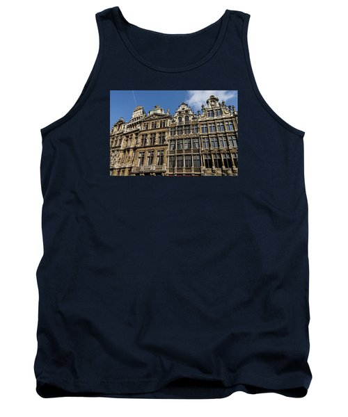 Tank Top featuring the photograph Postcard From Brussels - Grand Place Elegant Facades by Georgia Mizuleva