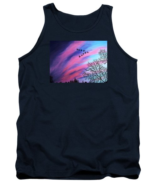 Raging Sky And Canada Geese Tank Top