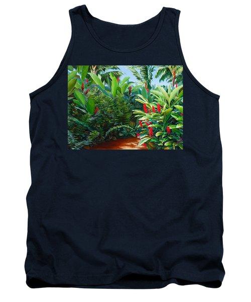Tropical Jungle Landscape - Red Garden Hawaiian Torch Ginger Wall Art Tank Top