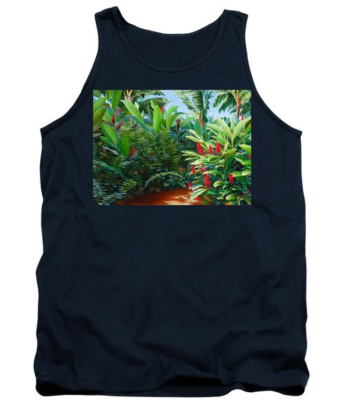 Tropical Jungle Landscape - Red Garden Hawaiian Torch Ginger Wall Art Tank Top
