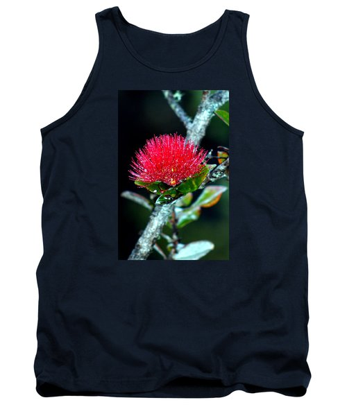 Tank Top featuring the photograph Red Ohia Lehua In Hawaii Volcano Mist by Lehua Pekelo-Stearns