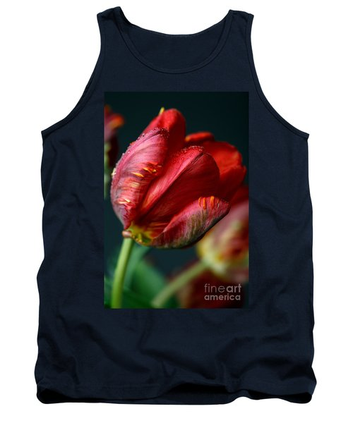 Red Tulip With Dew Tank Top