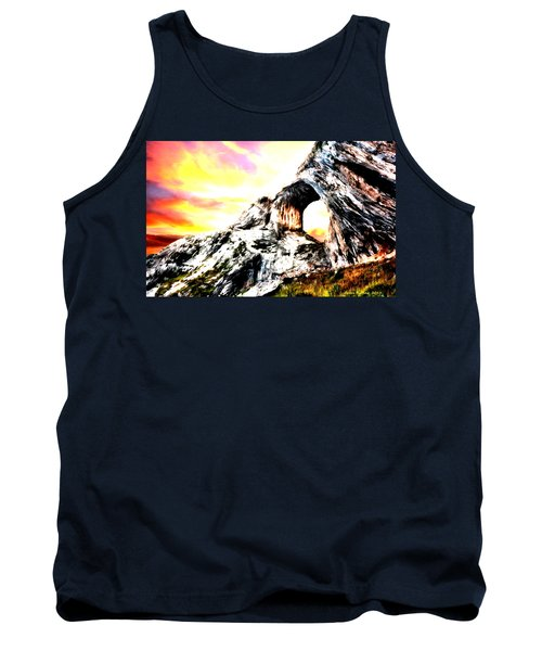 Tank Top featuring the painting Rock Cliff Sunset by Bruce Nutting