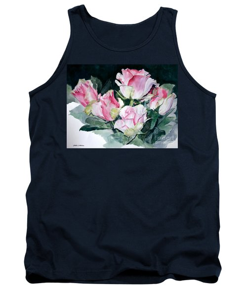 Watercolor Of A Pink Rose Bouquet Celebrating Ezio Pinza Tank Top