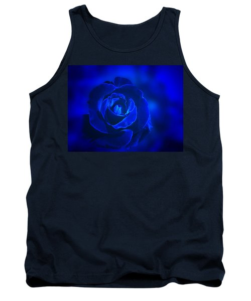 Rose In Blue Tank Top by Sandy Keeton